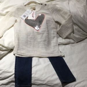 Jessica Simpson 4t heart top jeans combo NWT